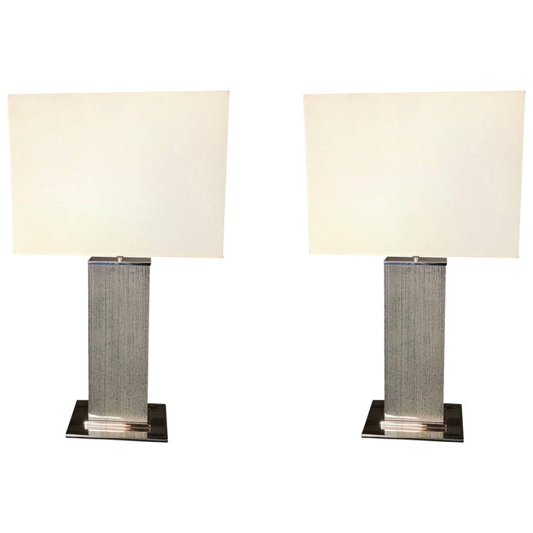 Pair of Contemporary Grey Laminated Wood Column Table Lamps