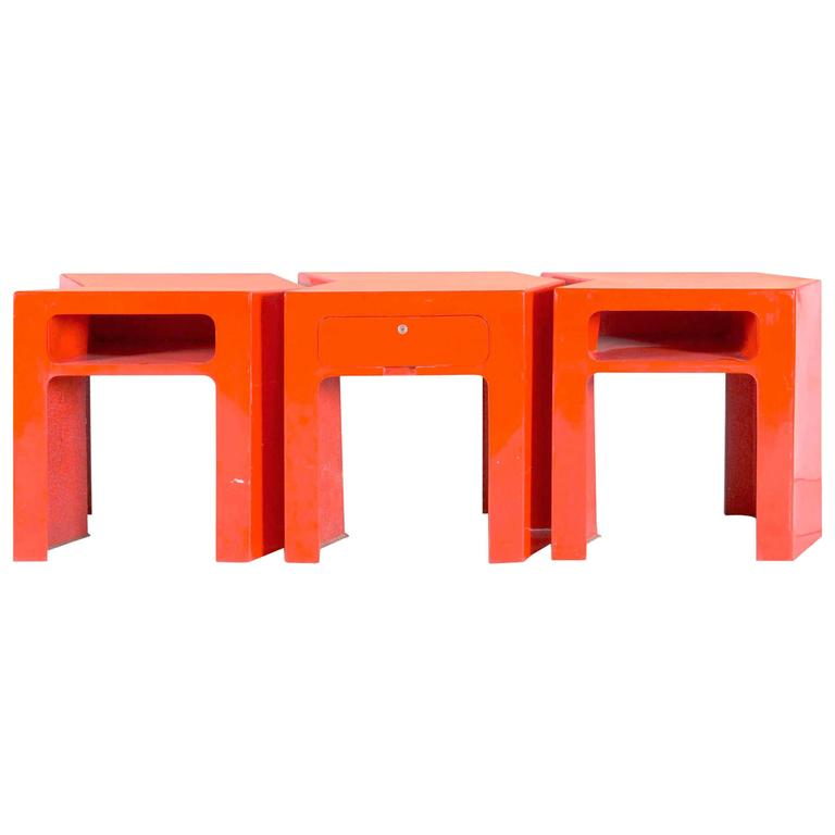 Fiberglass Console Table ~ Set of three tables red fiberglass france circa