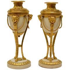 Pair of Louis XVI Gilt Bronze and Marble Cassolettes
