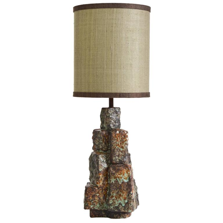 Ceramic Wall Lamp Shades : Ceramic Glazed Cubes Lamp with Custom Shade at 1stdibs