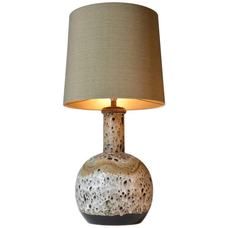 Glazed West German Nava Pottery Vase Lamp For Sale at 1stdibs