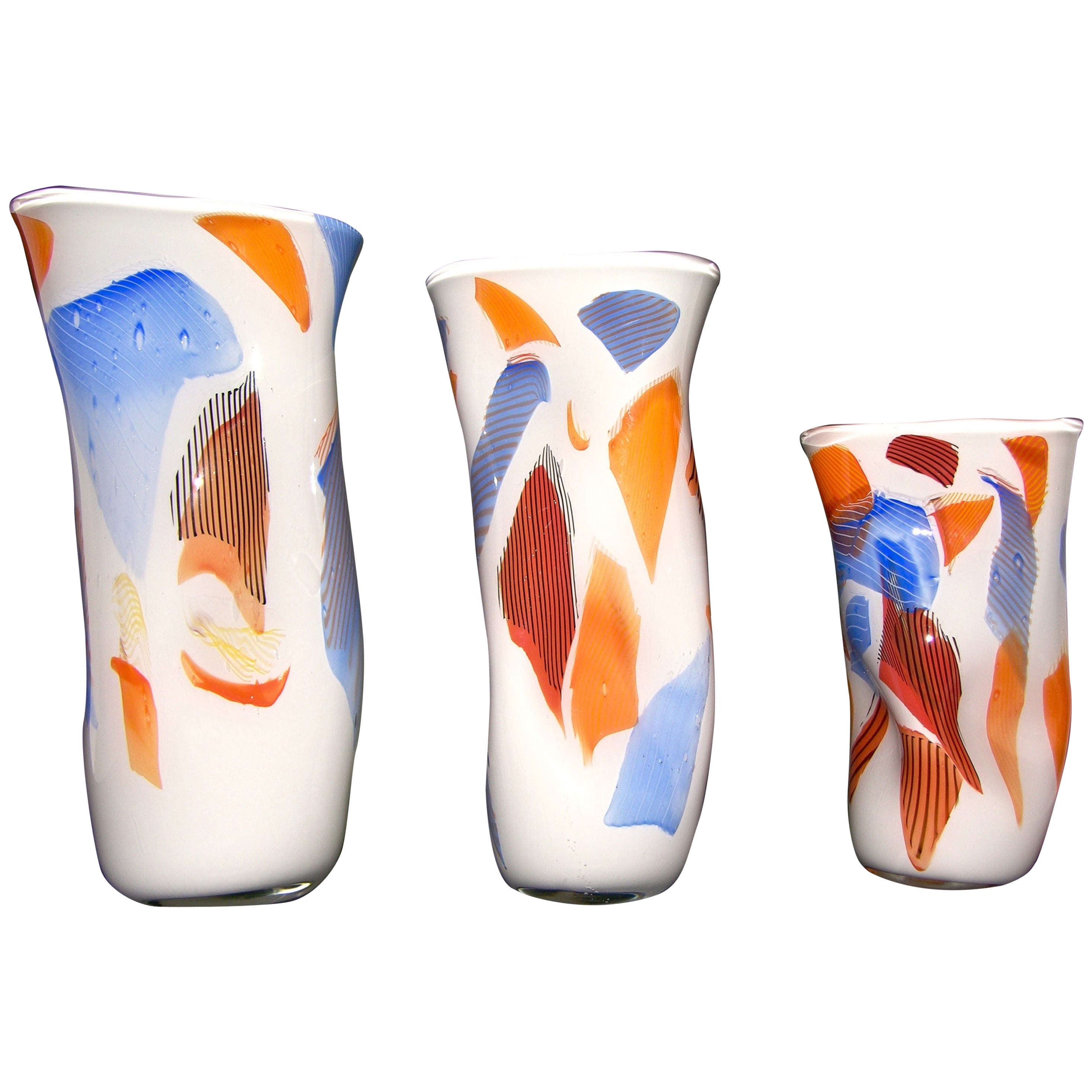Davide Dona Set of 3 Freeform White Orange Red Blue Murano Art Glass Vases