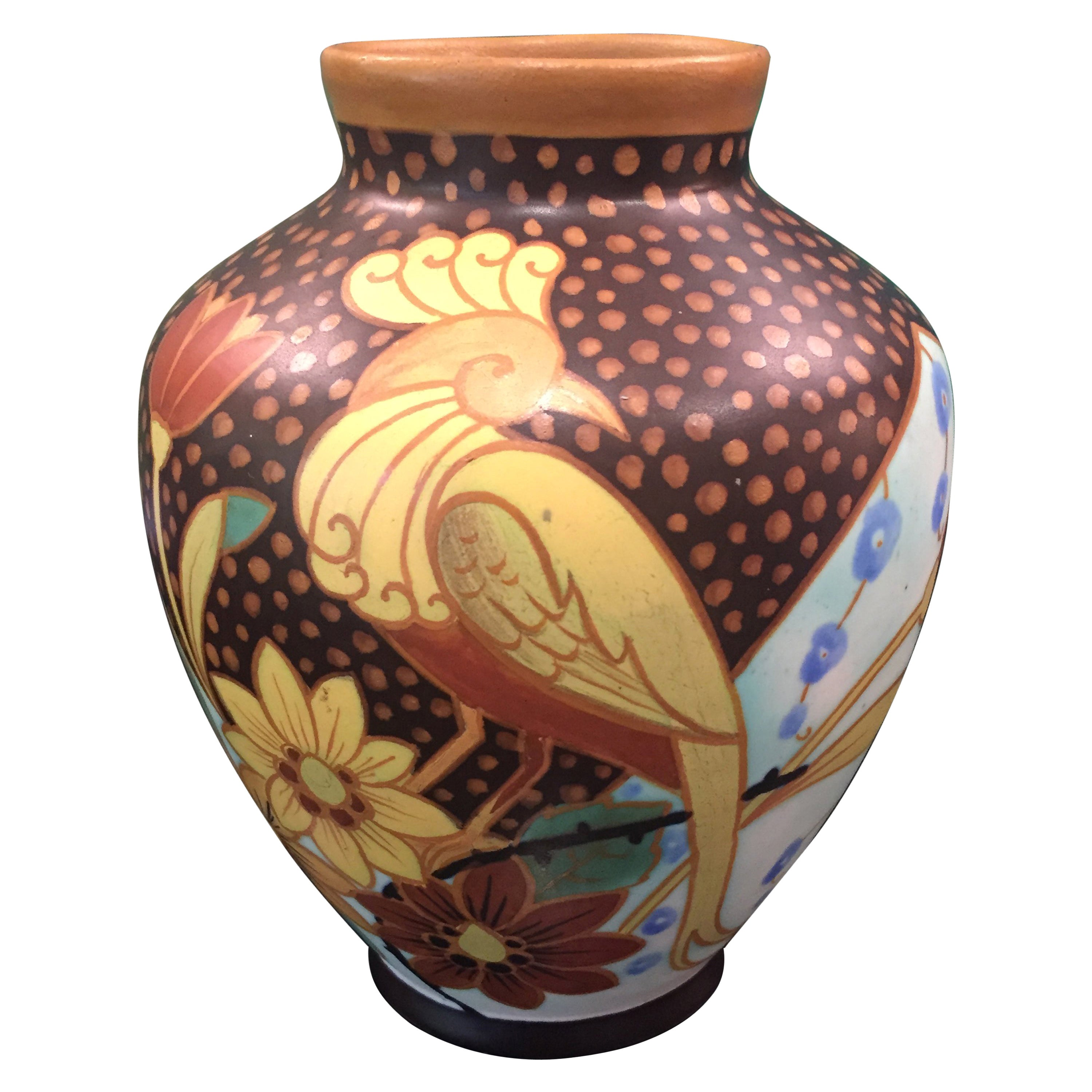 Art Deco Tropical Earthenware Vase by Charles Catteau for Boch Frères Keramis