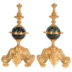 Exquisite Pair of Louis XV Andirons /Chenets in Gilded Bronze and Exotic Marble