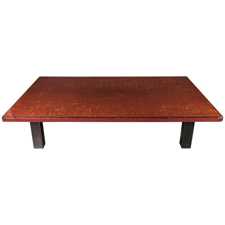 Mid-Century Modern Chinese Red Lacquered Coffee Table on Ebonized Table Legs 1