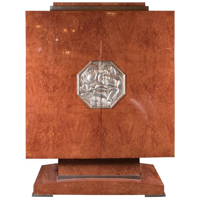 Art Deco Style Cabinet in Burled Walnut, White Gold Plaque, Manner of Ruhlmann 1