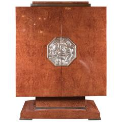 Art Deco Style Cabinet in Burled Walnut, White Gold Plaque, Manner of Ruhlmann