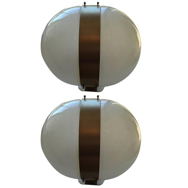 Large Pair of Sergio Mazza Clio 1970s Italian Wall Lights For Sale