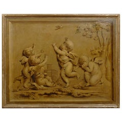French 1820s Horizontal Grisaille Painting Depicting Cherubs Chasing a Bird