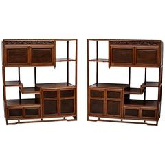 Pair of Japanese Tansu Cha Cabinets in Teak