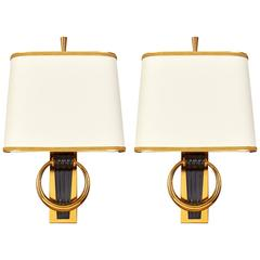 Handsome Pair of Fluted Bronze 1950s Sconces