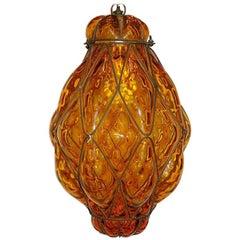 Amber Glas und Metall Laterne