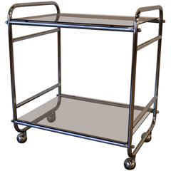 Mid-Century Modern Chrome and Glass Rolling Bar Cart or Server , Circa 1970s