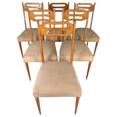 Ico Parisi Style Dining Chairs, Italian Modern