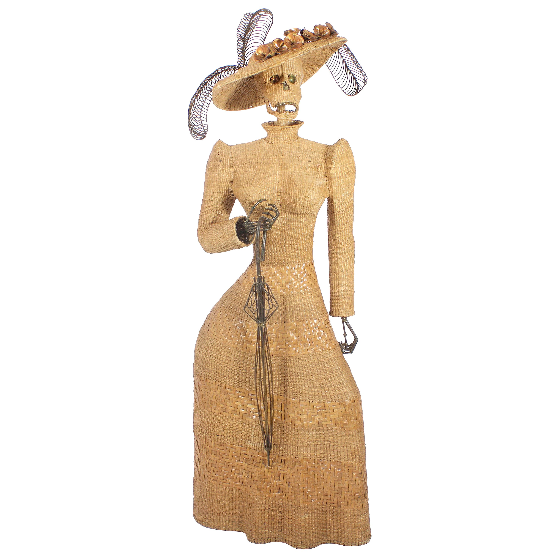 Mario Torres Wicker Sculpture of a Woman