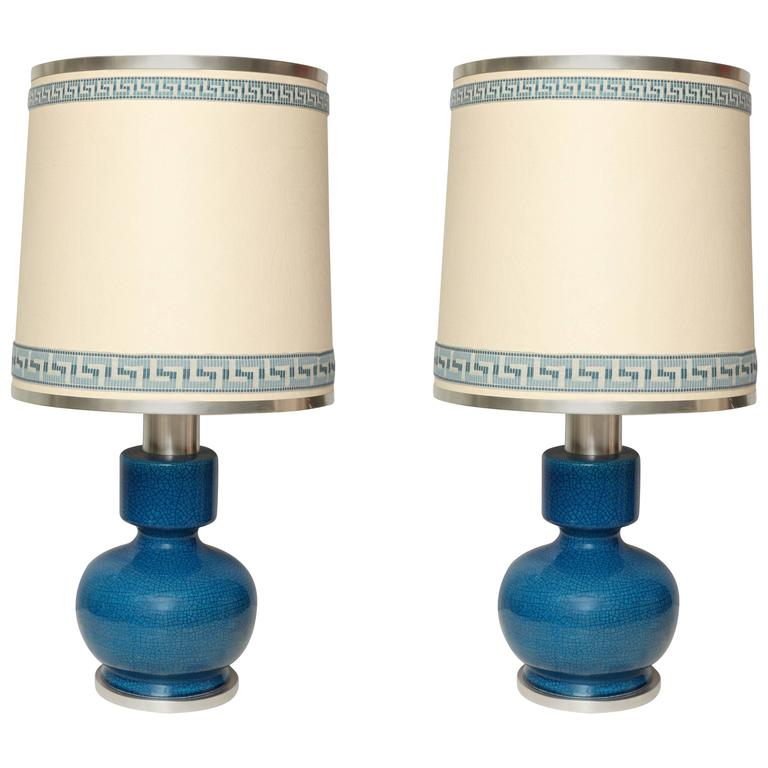 Pair of Modernist Table Lamps in Crackled Blue / Turquoise Glazed Ceramic