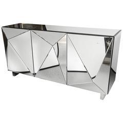 Mid-Century Modern Mirrored Console Cabinet