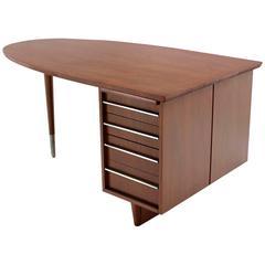 Unusual Oval Shape Walnut Partners Extra Deep Desk Long Metal Stip Shape Pulls