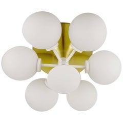 MidCentury Staff Sputnik Brass Glass Globes Flush Light, Stilnovo Gio Ponti Era