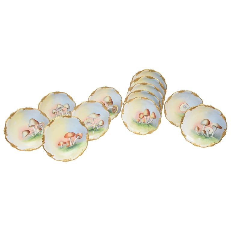 12 Antique Hand-Painted Mushroom Plates Gold Trim Limoges For Sale  sc 1 st  1stDibs & 12 Antique Hand-Painted Mushroom Plates Gold Trim Limoges For Sale ...