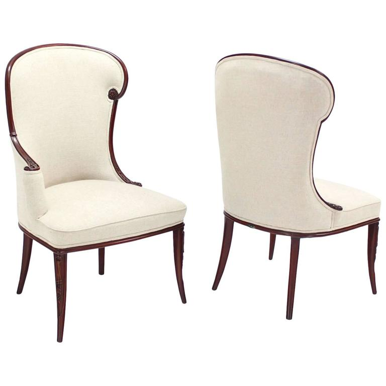 Pair of Antique Carved Mahogany Fireside Chairs with New Upholstery For Sale - Pair Of Antique Carved Mahogany Fireside Chairs With New