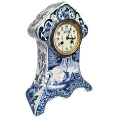 19th Century Dutch Painted Blue and White Faience Delft Mantel Clock
