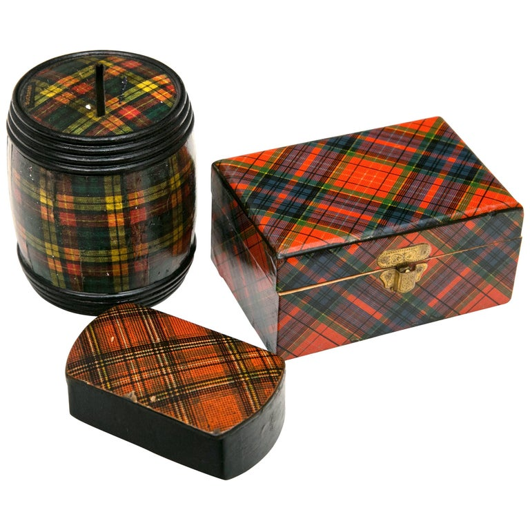 Group of Three Miniature Tartanware Boxes For Sale