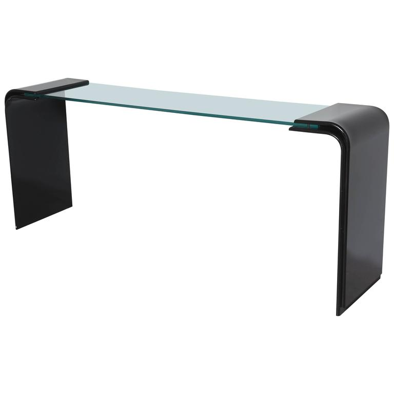 Midcentury Black Lucite and Glass Top Console, Vintage Condition For Sale