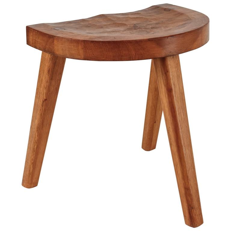 Jean Touret Oak Stool With Semicircular Seat For Marolles