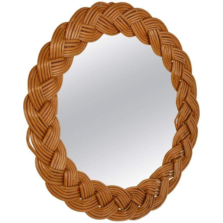 Jean Touret Wall Mirror With Wicker Frame Atelier Marolles France 1950 For