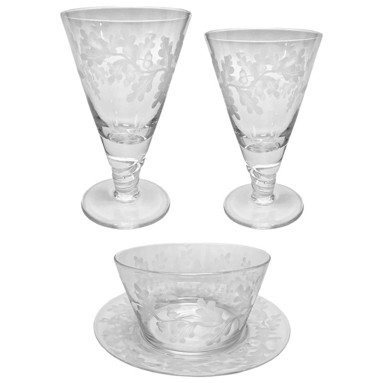 Webb Glass Co Deeply Etched Stemware Oak Leaves And