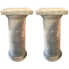 Pair of Tall Carved Stone Pedestals or Columns, English, circa 1860