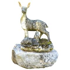 Marble Statue of Doe with Fawn on Boulder, English, circa 1850