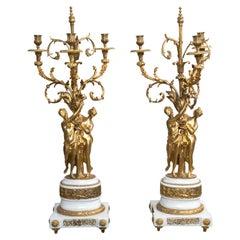 Pair of Gilt Bronze and Marble Three-Light Candelabra