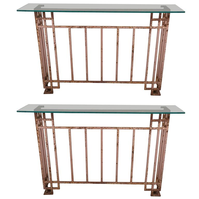Pair Of Iron Consoles At 1stdibs