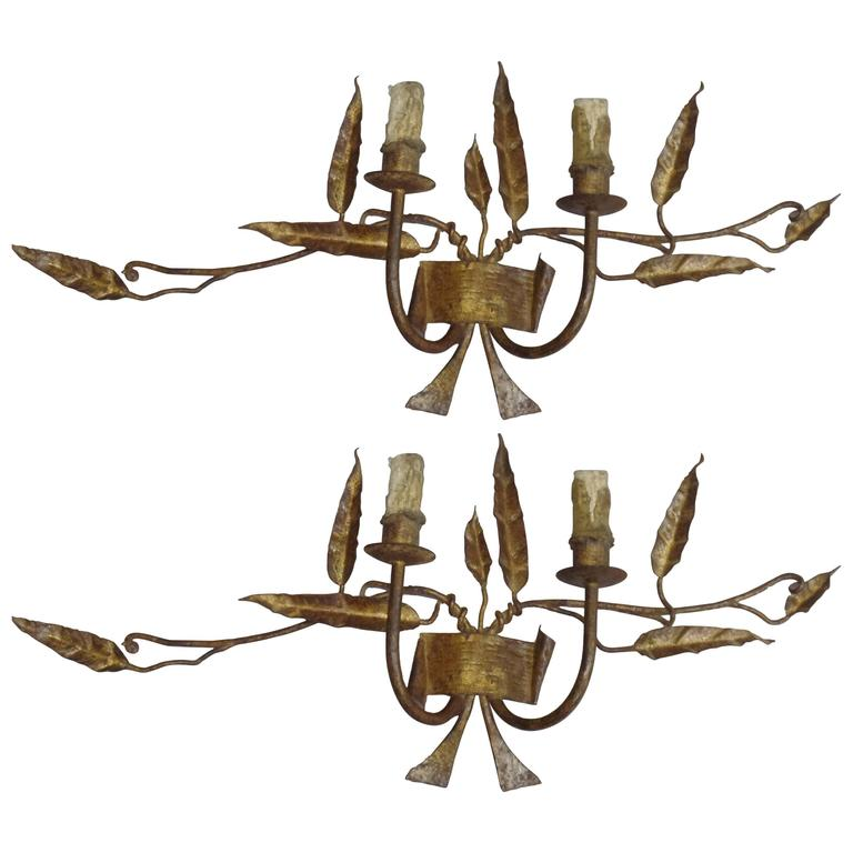 Pair French Mid-Century Handmade and Gilt Wrought Iron Sconces, Poillerat Style