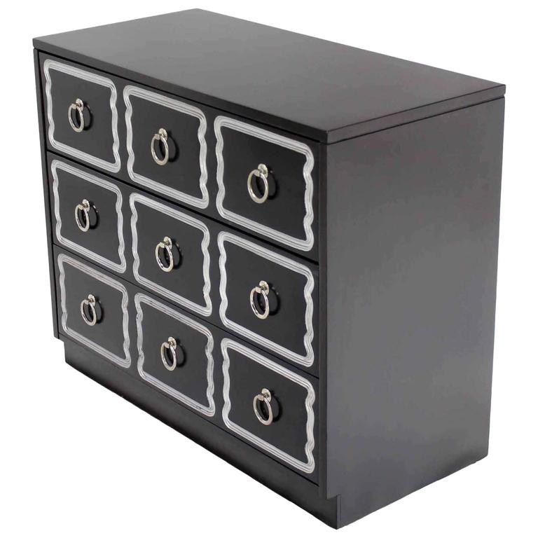 Dorothy Draper Black and Silver Three Drawer Chest of Drawers Dresser Commode