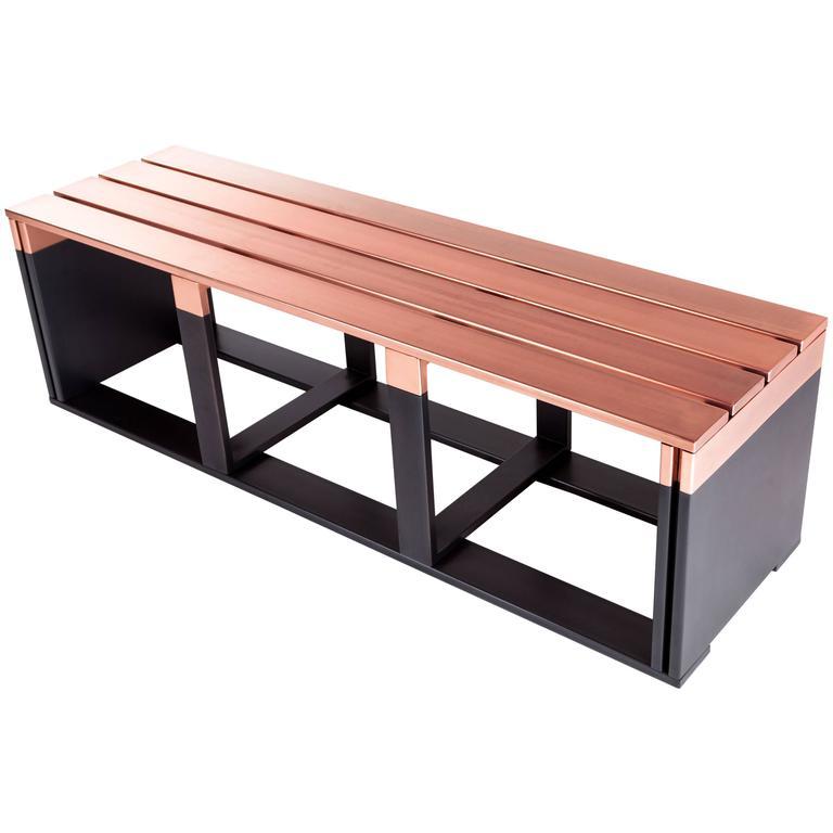 bicroma bench in copper and dark matt iron by parisotto