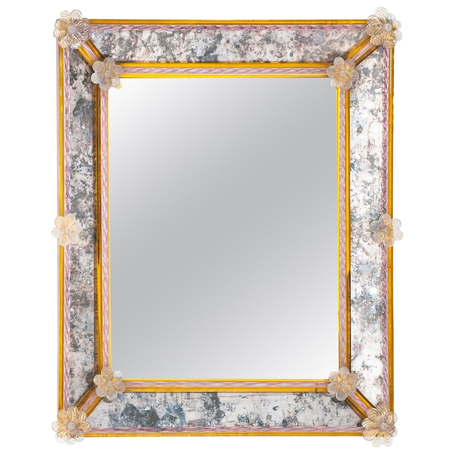 Italian rectangular mirror in Murano glass amber and pink flowers Pauly, 1980s