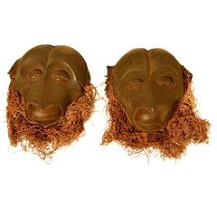 Pair of Sculptural African Monkey Masks Introducing  the Year of the Monkey
