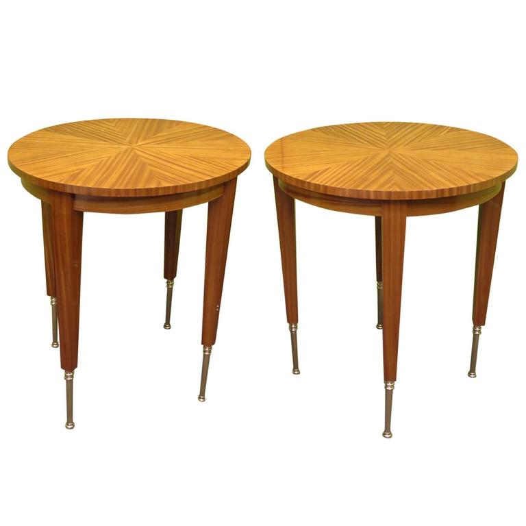 Pair of 1920 Round French Art Deco Side Tables