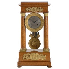 French Portico Timber Clock, circa 1815