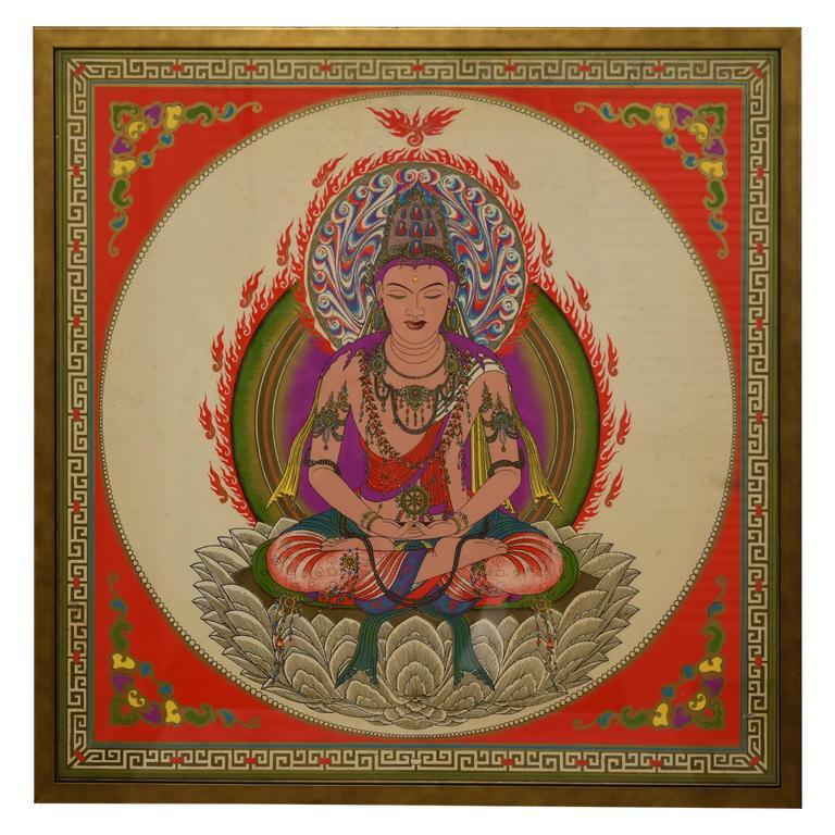 Vintage Framed Print of a Hindu Diety, circa 1960