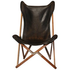 Black Leather JB Fendy Style Tripolina Chair by Dario Alfonsi