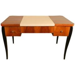 Art Deco Desk in Veneer Walnut and Blackened Wood