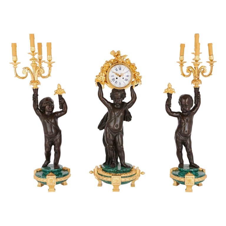 Large Malachite, Gilt and Patinated Bronze Clock Set For Sale