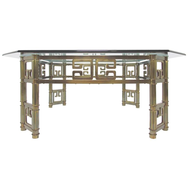 Mastercraft Coffee Table In Br With Greek Key Motif And Octagonal Gl Top For