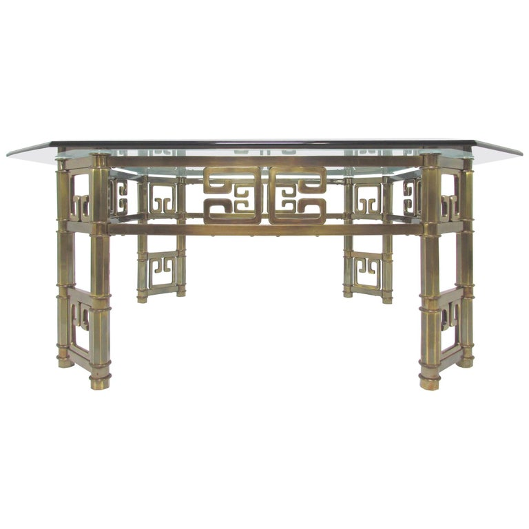 Mastercraft Coffee Table in Brass with Greek Key Motif and Octagonal Glass Top For Sale