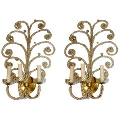 Gilt Sconces with Crystal Beads