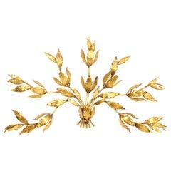 """Große Vergoldete Florale Wandlampe """"Bouquet"""" aus Metall, 1960er"""